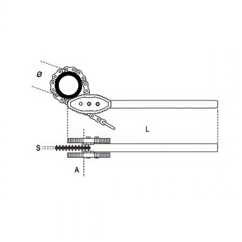 ключ трубный цепной усиленный, до 168мм - 1