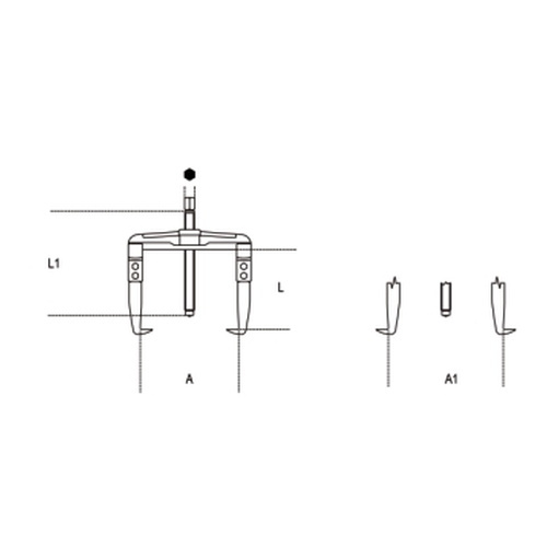 съемник двухзахватный реверсивный, 25-130мм - 1
