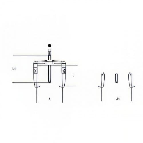 съемник двухзахватный реверсивный, 50-220мм - 1