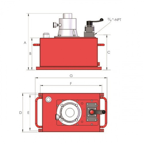гидростанция пневматическая двухскоростная, 4-линейный клапан, объем 40 л - 1