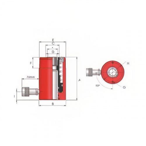 цилиндр с полым штоком одностороннего действия, г/п 33т, ход 50мм - 1