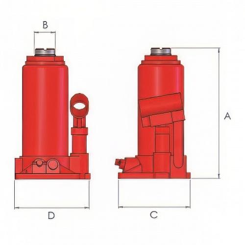 домкрат бутылочный стальной, г/п 16т, ход 178мм - 1
